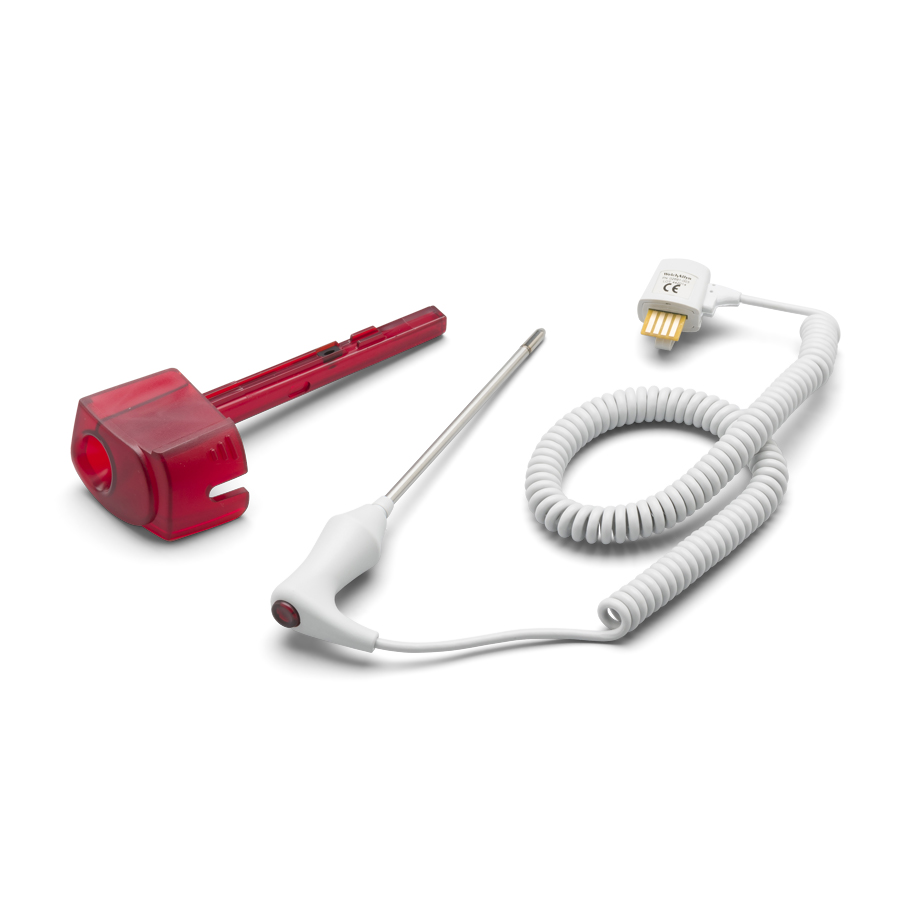 02892-003: Welch Allyn Rectal Veterinary Temperature Probe and Well Assembly for SureTemp Plus 690/692 Electronic Thermometers; 4.0 ft/1.2 m Cord ; Red