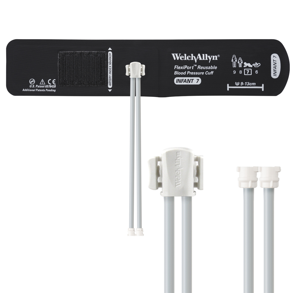REUSE-07-2MQ: Welch Allyn FlexiPort Blood Pressure Cuff; Size-07 Infant, Reusable, 2- Tubes (8.0 and 8.0 in/20.3 and 20.3 cm), Female Locking (#5082-182) Connectors