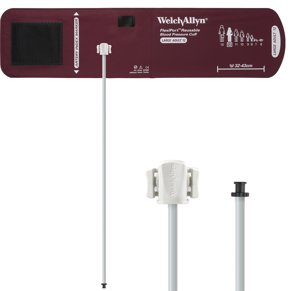 REUSE-12-1TP: Welch Allyn FlexiPort Blood Pressure Cuff; Size-12 Large Adult, Reusable, 1-Tube, Tri-Purpose (#5082-168) Connector