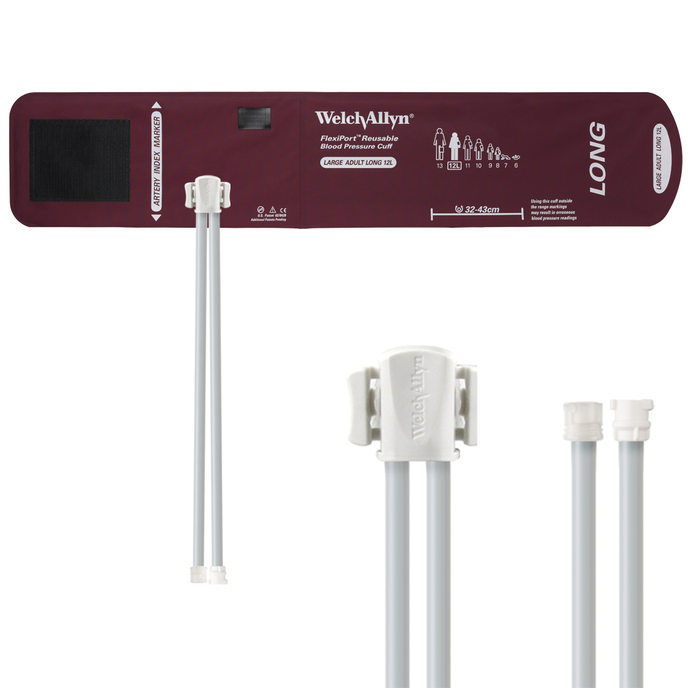 REUSE-12L-2MF: Welch Allyn FlexiPort Blood Pressure Cuff; Size-12L Large Adult Long, Reusable, 2-Tubes (8.0 and 13.0 in/20.3 and 33.0 cm), Mated Lo cking/Subminiature (#5082-182 and #5082-178)