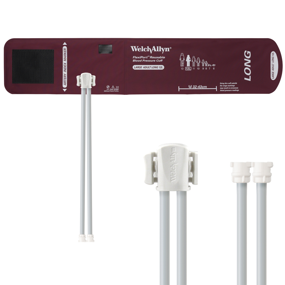 REUSE-12L-2MQ: Welch Allyn FlexiPort Blood Pressure Cuff; Size-12L Large Adult Long, Reusable, 2-Tubes (8.0 and 8.0 in/20.3 and 20.3 cm), Female Locking (#5082-182) Connectors