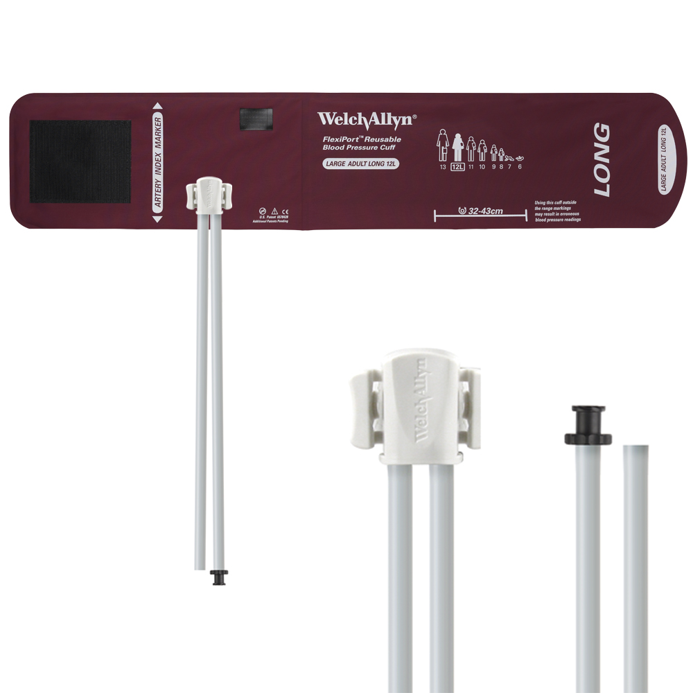 REUSE-12L-2TP: Welch Allyn FlexiPort Blood Pressure Cuff; Size-12L Large Adult Long, Reusable, 2-Tubes (8.0 and 13.0 in/20.3 and 33.0 cm), Tri-Purpose (#5082-168) Connectors