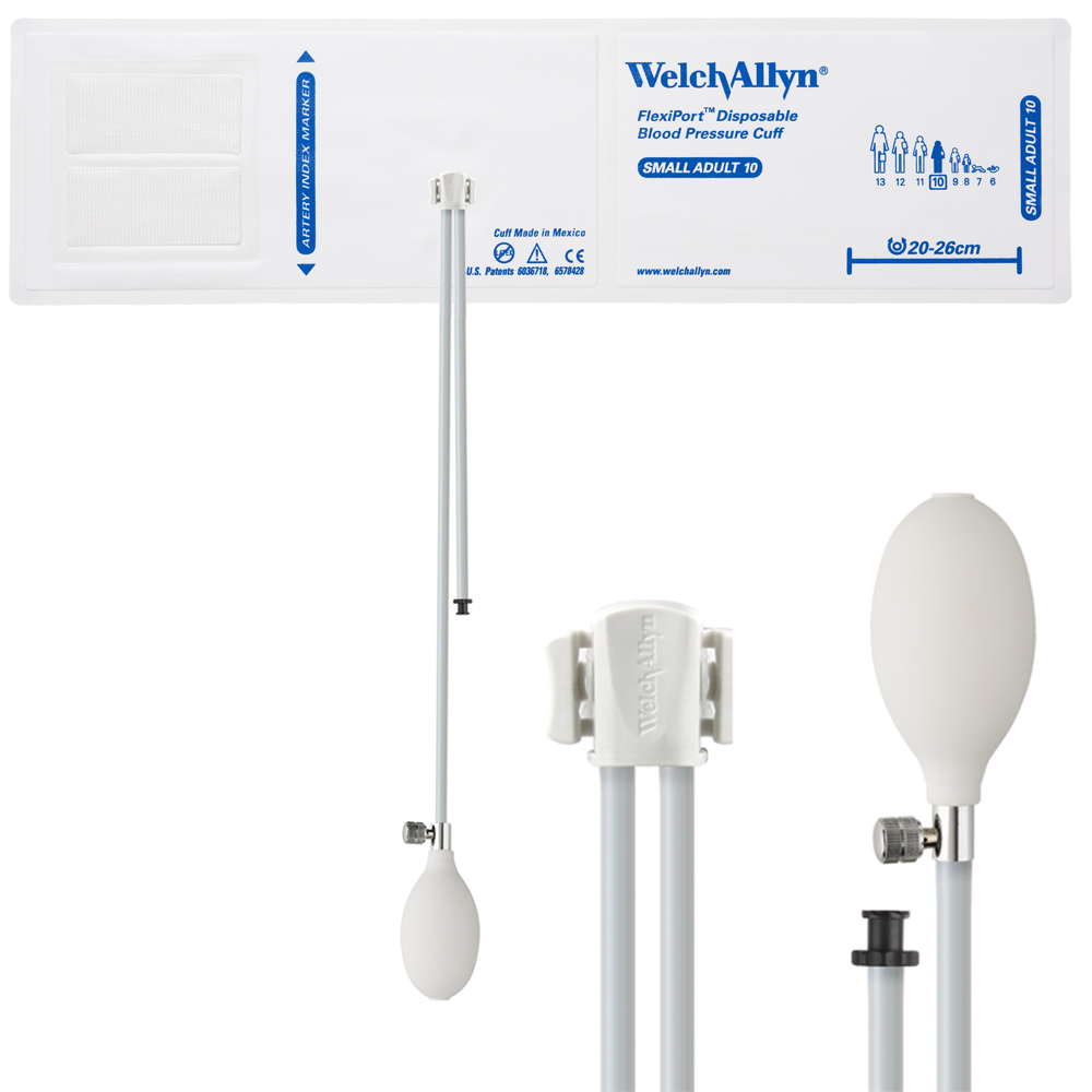 SOFT-10-2BV: Welch Allyn FlexiPort Blood Pressure Cuff; Size-10 Small Adult, Soft Disposable, 2-Tubes (8.0 and 13.0 in/20.3 and 33.0 cm), Tri-Purpose (#5082-168) Connector and Inflation Bulb and Valve; with Inflation Bulb and Valve; Qty. 20
