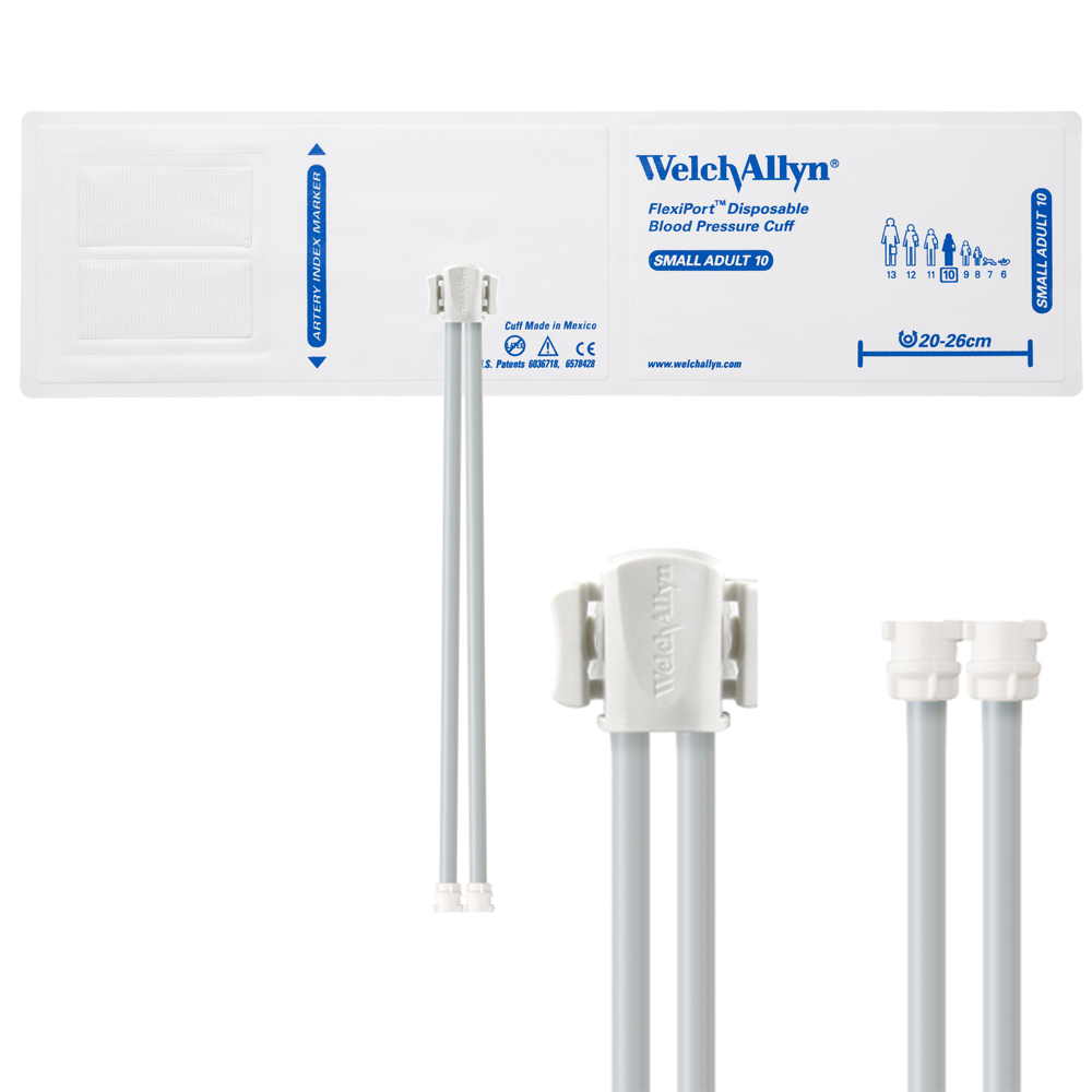 SOFT-10-2MQ: Welch Allyn FlexiPort Blood Pressure Cuff; Size-10 Small Adult, Soft Disposable, 2-Tubes, Female Locking (#5082-182) Connectors; Qty. 20