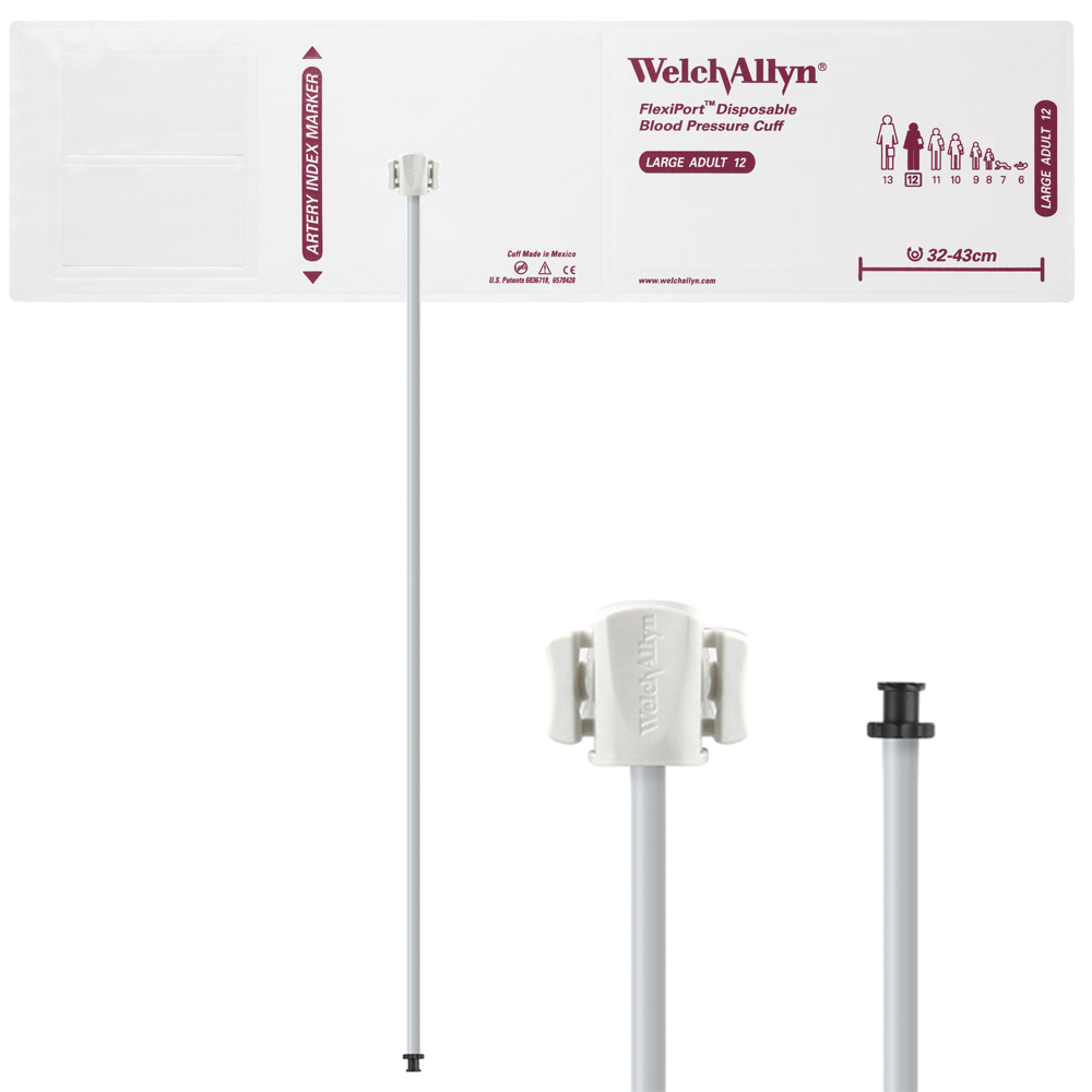 SOFT-12-1TP: Welch Allyn FlexiPort Blood Pressure Cuff; Size-12 Large Adult, Soft Disposable, 1-Tube, Tri-Purpose (#5082-168) Connector; Qty. 20