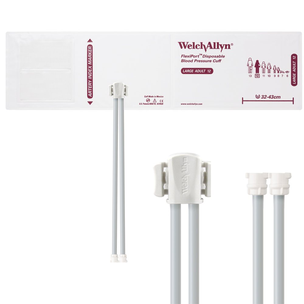 SOFT-12-2MQ: Welch Allyn FlexiPort Blood Pressure Cuff; Size-12 Large Adult, Soft Disposable, 2-Tubes, Female Locking (#5082-182) Connectors; Qty. 20