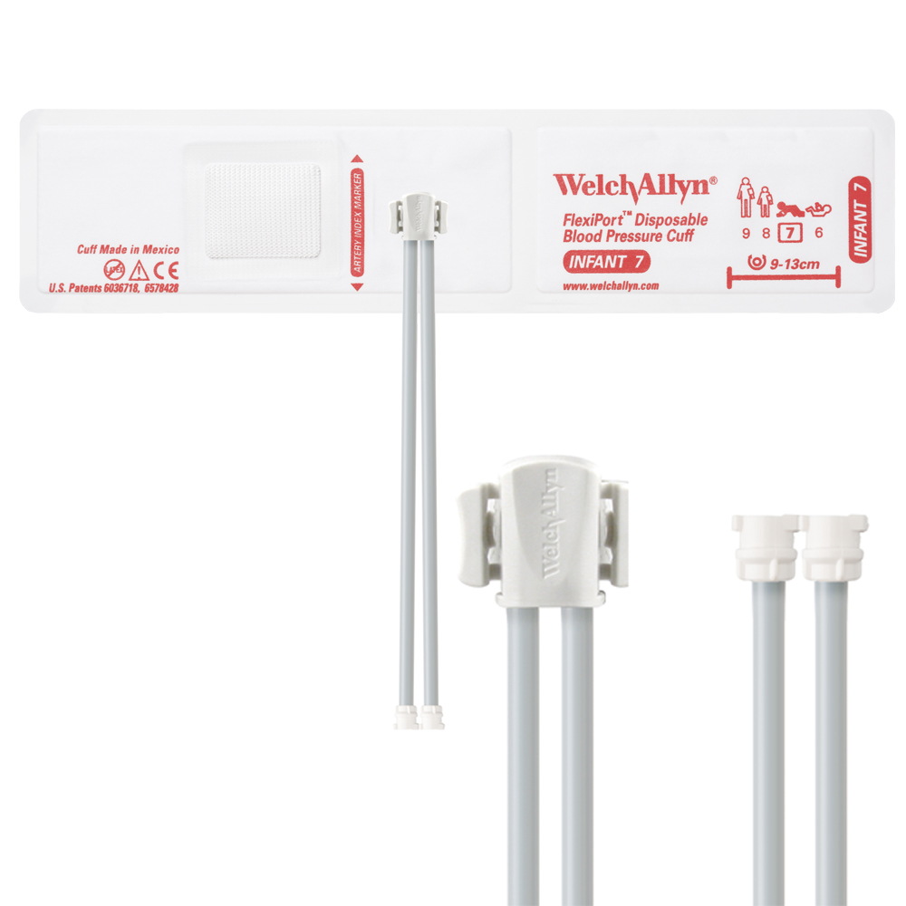 VINYL-07-2MQ: Welch Allyn FlexiPort Blood Pressure Cuff; Size-07 Infant, Vinyl Disposable, 2-Tubes, Female Locking (#5082-182) Co nnectors; Qty. 20
