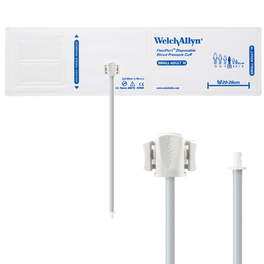 VINYL-10-1HP: Welch Allyn FlexiPort Blood Pressure Cuff; Size-10 Small Adult, Vinyl Disposable, 1-Tube, Male Bayonet (#5082-184) Connector; Qty. 20
