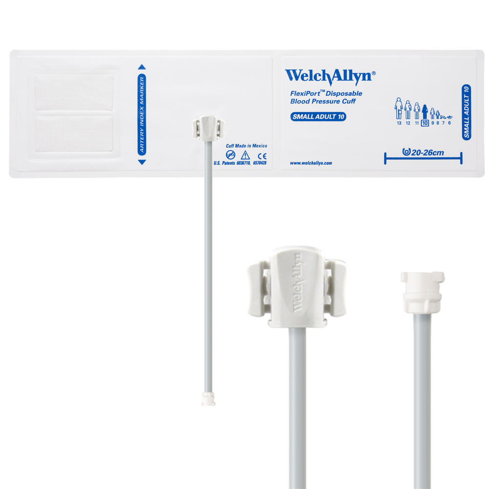 VINYL-10-1MQ: Welch Allyn FlexiPort Blood Pressure Cuff; Size-10 Small Adult, Vinyl Disposable, 1-Tube, Female Locking (#5082-182) Connector; Qty. 20