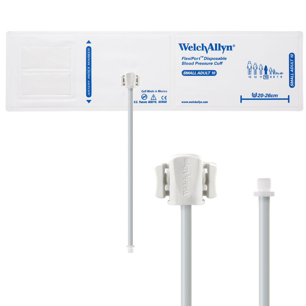 VINYL-10-1SC: Welch Allyn FlexiPort Blood Pressure Cuff; Size-10 Small Adult, Vinyl Disposable, 1-Tube, Male Screw (#5082-164) Connector; Qty. 20