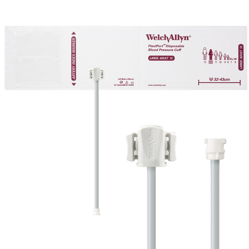 VINYL-12-1MQ: Welch Allyn FlexiPort Blood Pressure Cuff; Size-12 Large Adult, Vinyl Disposable, 1-Tube, Female Locking (#5082-182) Connector; Qty. 20