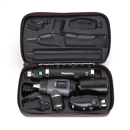 97100-MS: Diagnostic Set with Standard Ophthalmoscope, MacroView Otoscope with Throat Illuminator, Lithium Ion Handle in Hard Case