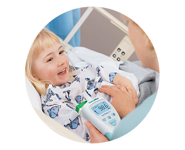SureTemp Thermometer being used on child in hospital