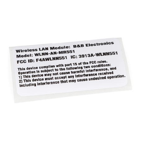 9050-059-10 : Label, Reg, WLAN, B&B Electronics