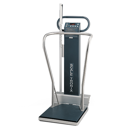 5002-XX-X: 5002 Mobile stand-on scale with standard weight (lb/kg) (X), data port (X) and battery power (X)
