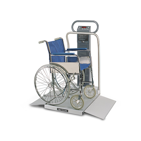 6002-XX-X: 6002 Wheelchair Scale with standard weight (lb/kg) (X), data port (X) and battery power (X)