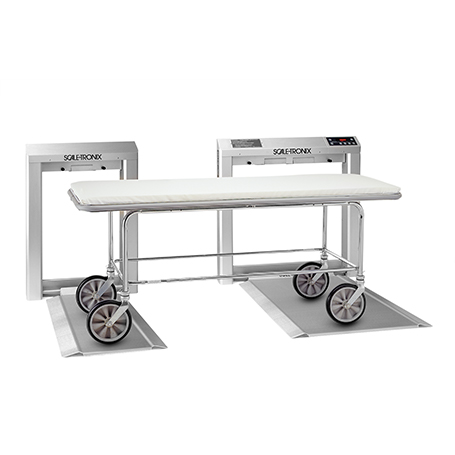 6202D-XX-X: 6202D Stow-A-Weigh Stretcher Scale with standard weight (lb/kg) (X), data port (X) and battery power